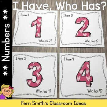 I Have Who Has Game Numbers 1-25 Cards for St Valentine's Day