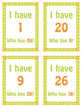 I Have Who Has Numbers 1-26