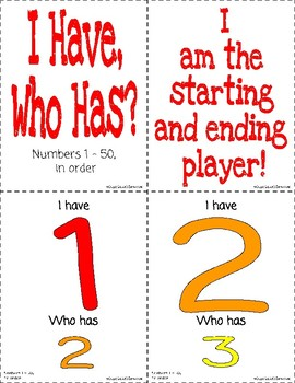 I Have, Who Has? Numbers 1 to 50