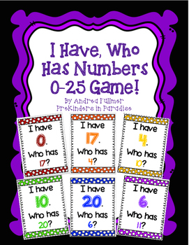 I Have, Who Has Numbers Game 0-25