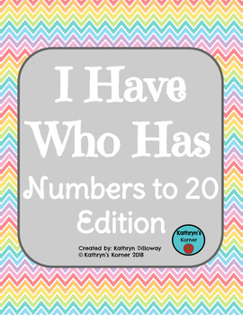I Have Who Has {Numbers to 20} Game