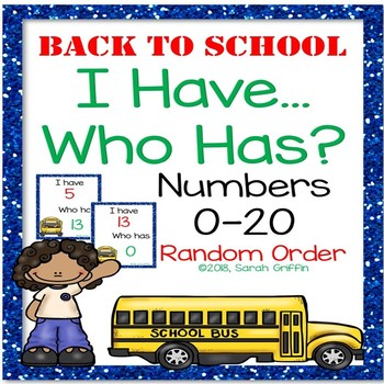 I Have, Who Has ~ Numbers to 20 Game ~ Back to School