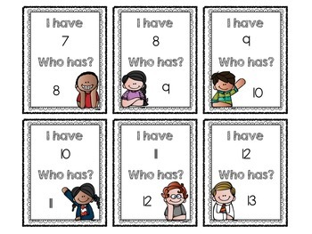 """I Have, Who Has?"" Numeral Identification Game (1-30)"