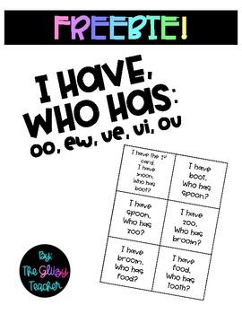 I Have, Who Has: OO, EW, UE, UI, OU Freebie