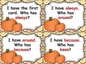 I Have, Who Has, October Sight Word Game