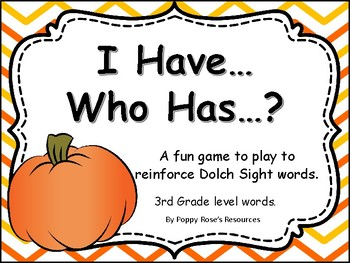I Have, Who Has, October Sight Word Game Grade 3