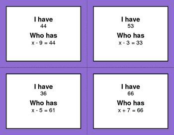 I Have, Who Has - One Step Equations (Addition & Subtraction)