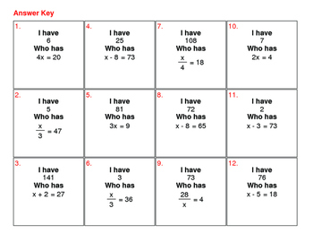 I Have, Who Has - One Step Equations (Mixed Operations)
