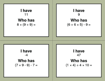 I Have, Who Has - Order of Operations