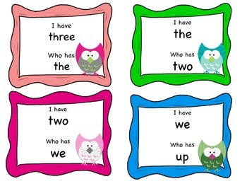 I Have Who Has Owl Sight Word Game
