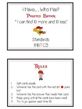 I Have Who Has - PIRATES - Ten More Ten Less - Math Folder Game