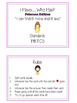 I Have Who Has - PRINCESSES - Ten More Ten Less - Math Folder Game