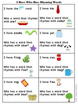 I Have Who Has Pack-Capital & Lowercase Letters, Rhyming Words, Numbers, & More