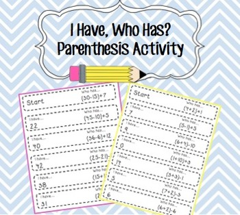 I Have, Who Has? Parenthesis Activity!