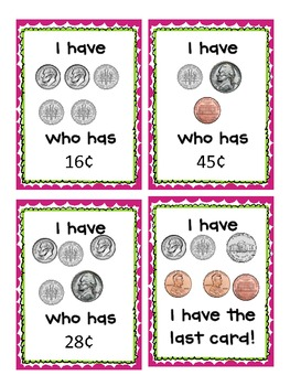 I Have, Who Has: Pennies, Nickels, and Dimes