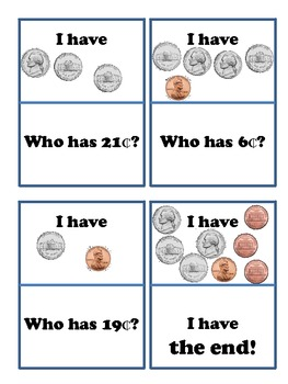 I Have, Who Has: Pennies and Nickels