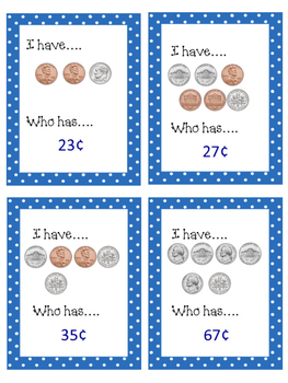 I Have...Who Has... Penny, Nickels, Dimes-NO PREP
