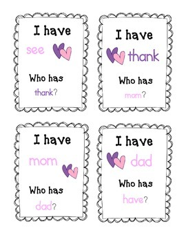 I Have Who Has Pink and Purple Heart Words