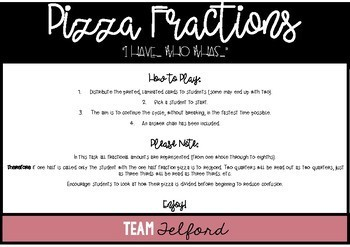 I Have Who Has Pizza Fractions
