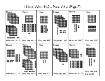 """""""I Have, Who Has"""" - Place Value (2nd Grade)"""