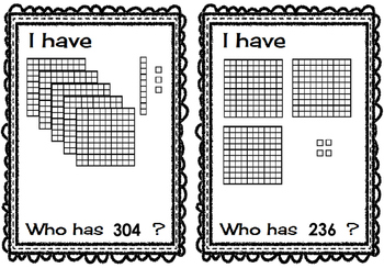 I Have Who Has Place Value Counting Hundreds, Tens, and Ones--Set of 28