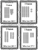 I Have Who Has Place Value Base 10 Blocks and Cubes--Set of 20 and 28 cards.