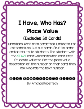 I Have, Who Has? Place Value Cards