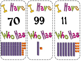 I Have Who Has Place Value Edition with Two Digit Numbers
