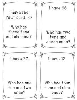 I Have, Who Has Place Value Game 2-Digit Numbers