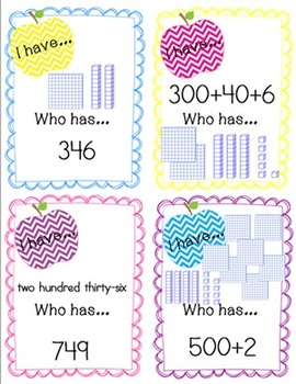 I Have Who Has Place Value Math Game and Math Center to 1000