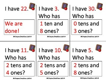 I Have... Who Has... Place Value Tens and Ones - Common Core Aligned