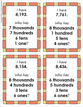 I Have, Who Has: Place Value - Thousands
