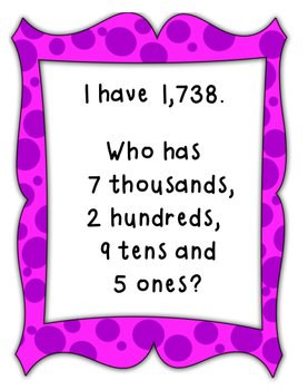 I Have, Who Has Place Value (Thousands, Hundreds, Tens, and Ones)