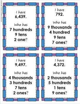 I Have, Who Has: Place Value - Thousands, Hundreds, and Tens