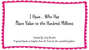 I Have Who Has Place Value up to Hundred Millions