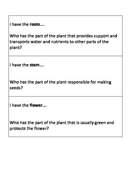 I Have, Who Has? Plant and Life Processes