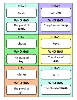 I Have, Who Has...? Plural Nouns Game
