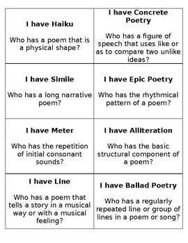 I Have, Who Has Poetry Terms