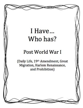 I Have... Who Has?  Post World War I