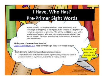 I Have, Who Has - PrePrimer Sight Words