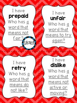 I Have, Who Has? Prefixes