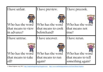 I Have Who Has Prefixes - Common Core