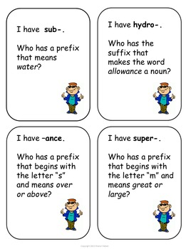 I Have . . .Who Has . .? Prefixes and Suffixes Game