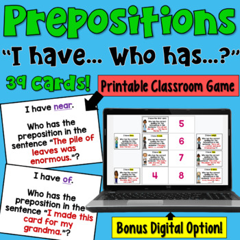 I Have... Who Has: Prepositions
