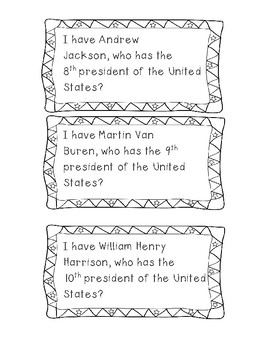 I Have, Who Has? Presidents