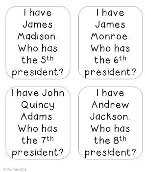 I Have Who Has - Presidents of the United States of America