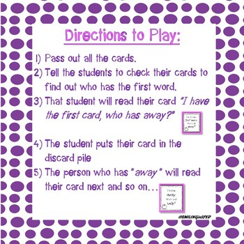 I Have... Who Has....?- Primer Sight Words