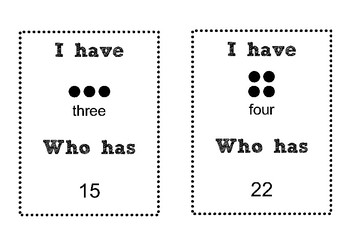 I Have... Who Has (Printable Counting Warm up for Numbers 1-20)