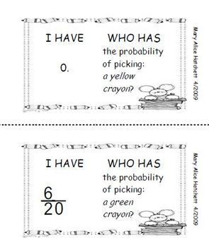 I Have Who Has Probability