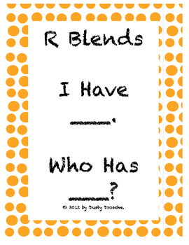I Have, Who Has: R Blends